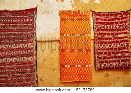 Selection Of Traditional Carpets On Moroccan Market