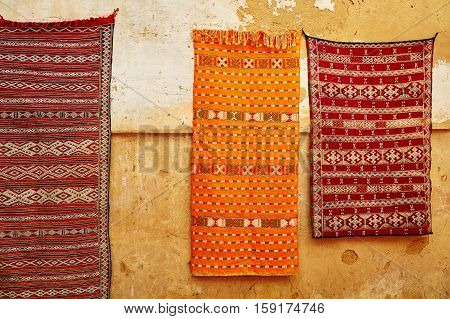 Traditional Carpets On Moroccan Market