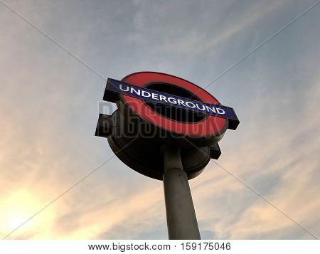 LONDON - NOVEMBER 30: London Underground roundel sign outside Hyde Park Corner Station on November 30, 2016 in London, UK.