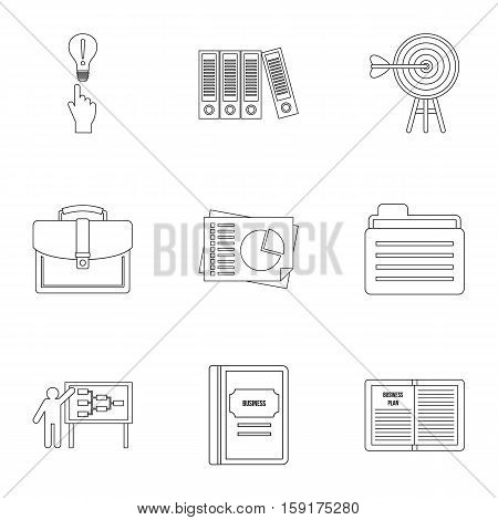 Company icons set. Outline illustration of 9 company vector icons for web