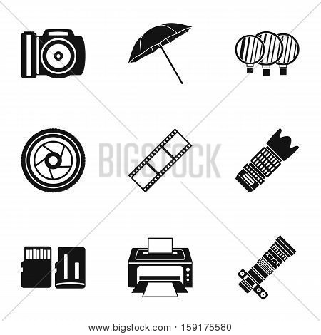 Photography icons set. Simple illustration of 9 photography vector icons for web