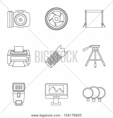 Taking photo icons set. Outline illustration of 9 taking photo vector icons for web