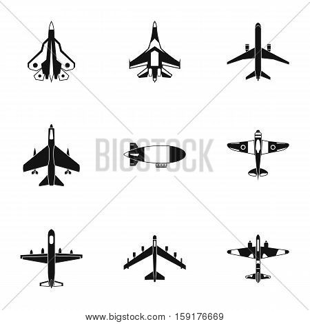 Military aircraft icons set. Simple illustration of 9 military aircraft vector icons for web