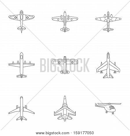 Combat aircraft icons set. Outline illustration of 9 combat aircraft vector icons for web