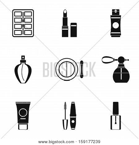 Cosmetic products icons set. Simple illustration of 9 cosmetic products vector icons for web