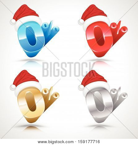 Zero percent with Santa clause hat 3D style set. Vector illustration. Use for promotion Christmas and New Year.