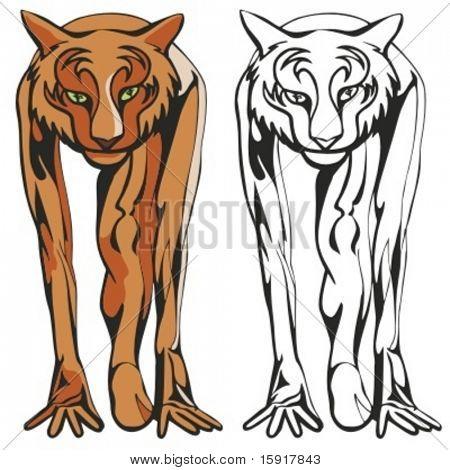 Tigre mascota para equipos deportivos. Ideal para diseños de camisetas, logo de la mascota de la escuela y cualquier otro diseño de wor