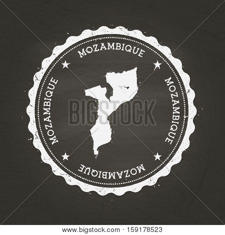 White Chalk Texture Rubber Stamp With Republic Of Mozambique Map On A School Blackboard. Grunge Rubb