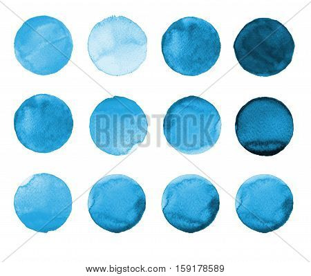 Set Of Blue Watercolor Hand Painted Circle Isolated On White. Illustration For Artistic Design. Roun