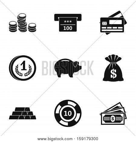 Bank icons set. Simple illustration of 9 bank vector icons for web