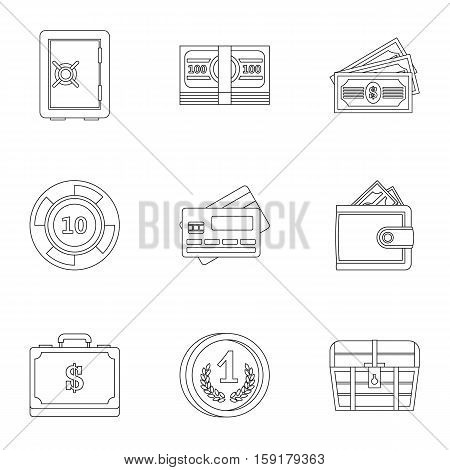 Monetary resource icons set. Outline illustration of 9 monetary resource vector icons for web