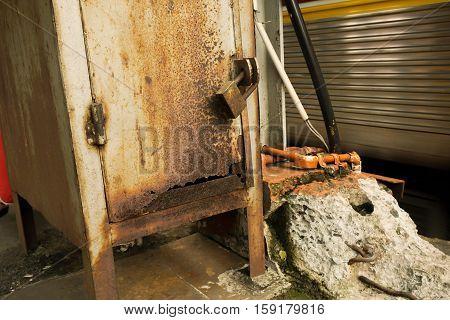 rusty pad lock seal a metal box in indonesia java jakarta