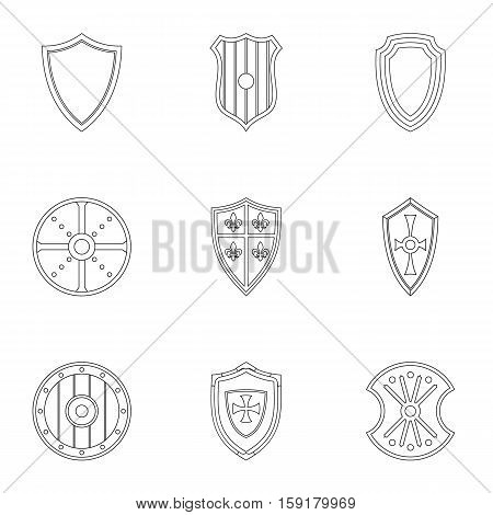 Military shield icons set. Outline illustration of 9 military shield vector icons for web
