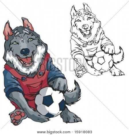 Wolf-Fußball-Maskottchen. Ideal für T-shirt Designs, Maskottchen Schullogo und anderen Design arbeiten. Bereit f
