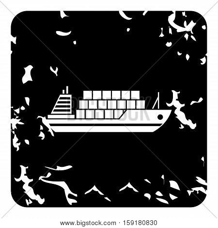 Cargo ship icon. Grunge illustration of cargo ship vector icon for web