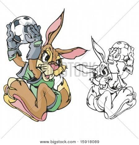 Conejo mascota de fútbol. Ideal para diseños de camiseta, logo de la mascota de la escuela y cualquier otro diseño de trabajo. Listo