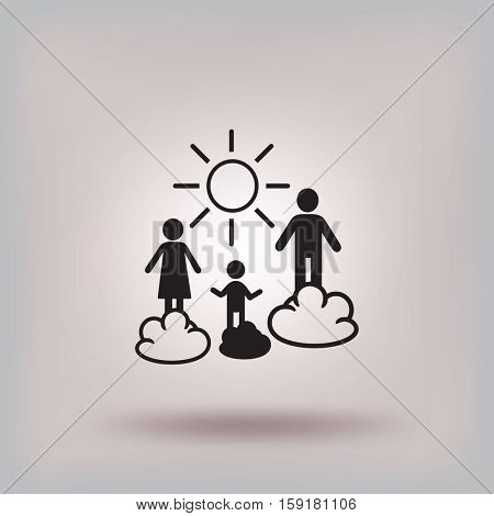 Flat icon. Happy family and sun. Father, mother, child and nature.
