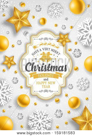 Christmas greeting card with type design and golden decorations on the snowy white background. Vector illustration.