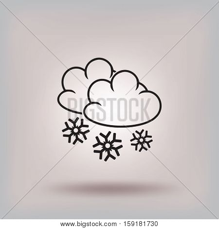 Flat icon. Cloud and snowflakes. From cloud snowing.