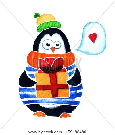 Cute Penguin With Gift Dreams About Love. Cartoon Babies And Little Kids. Watercolor Illustration Is