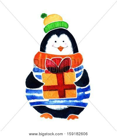 Cute Penguin With Gift. Cartoon Babies And Little Kids. Watercolor Illustration Isolated On White Ba