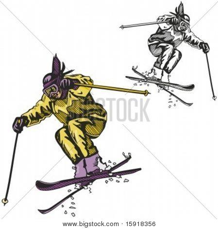 Ski sport. Vector illustration