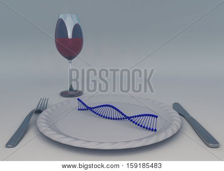 DNA chain on a plate.   3D Render