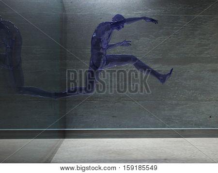 3D render. Men's figure made of glass.   3D Render