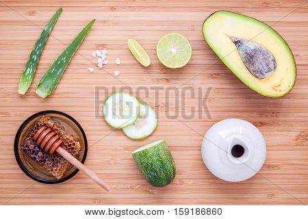 Homemade Skin Care And Body Scrub With Natural Ingredients Avocado ,aloe Vera ,lemon,cucumber And Ho