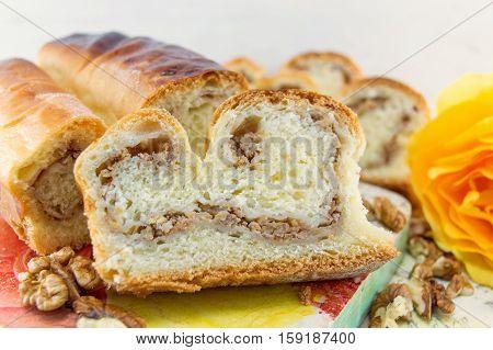 home made sweet walnut strudel close up