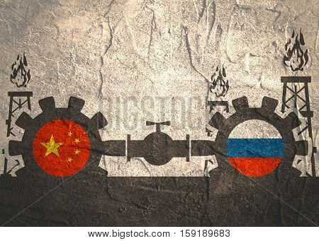 Image relative to gas transit from Russia to China. Gears connected by gas pipe. National flags on cog wheels. Concrete textured