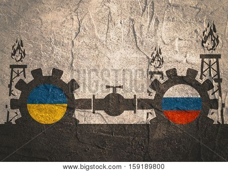 Image relative to gas transit from Russia to Ukraine. Gears connected by gas pipe. National flags on cog wheels. Concrete textured