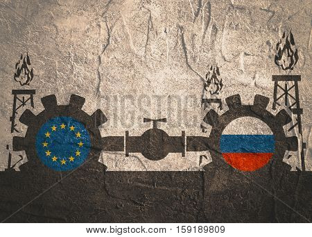 Image relative to gas transit from Russia to European Union. Gears connected by gas pipe. National flags on cog wheels. Concrete textured