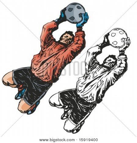 Fußballtorwart. Vektor-illustration