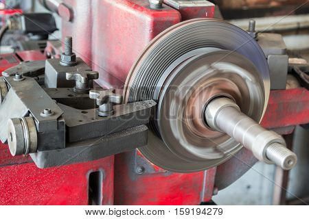 Disk Brake Machine Working To Rebuild Surface