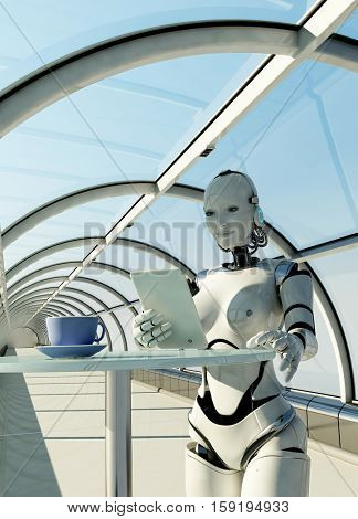 The  robot with tablet in hand.,3d render.