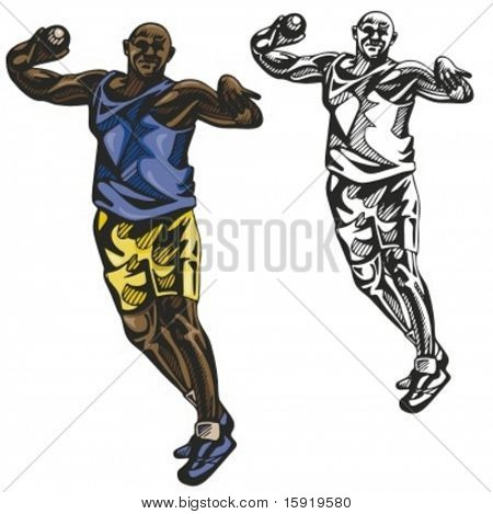 Hammer thrower athlete. Vector illustration.