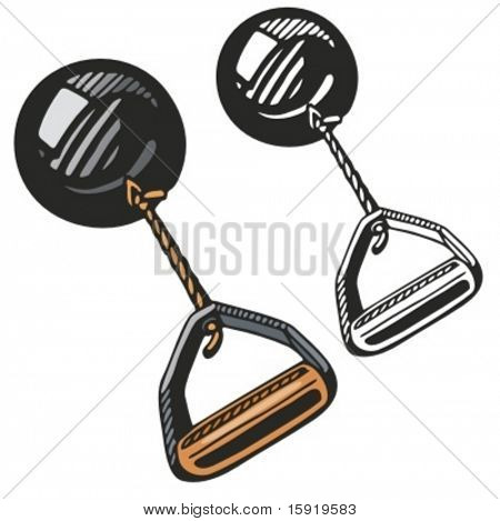 Hammer throwing equipment. Vector illustration.
