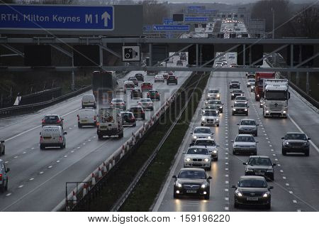 BEDFORDSHIRE, UK - February 12, 2014: Hazardous conditions on the busy M1 motorway near Milton Keynes England UK this afternoon as high winds from a large Atlantic storm caused travel chaos on Britain's roads.