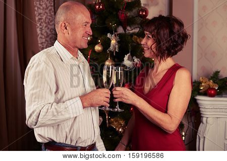 A mid shot of two lovely spouses standing in front of the new year tree decorated with toys holding the champagne flutes. Female wearing fancy red evening dress, male dressed in white shirt