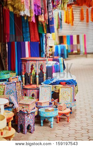 Selection Of Wooden Furniture On A Traditional Moroccan Market