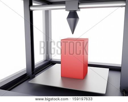 3D Illustration. Three dimensional printer prints a geometrical shape. New technology concept. Isolated white background.