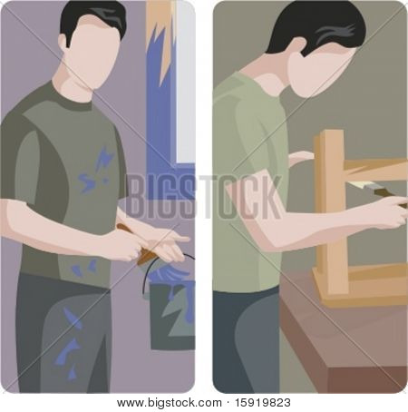 A set of 2 vector illustrations of workers. 1) Worker painting a window. 2) Worker varnishing wood.