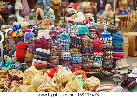 Selection Of Woolen Hats On A Traditional Moroccan Market