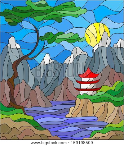 Illustration in stained glass style landscape Japanese house on sky background mountains and rivers