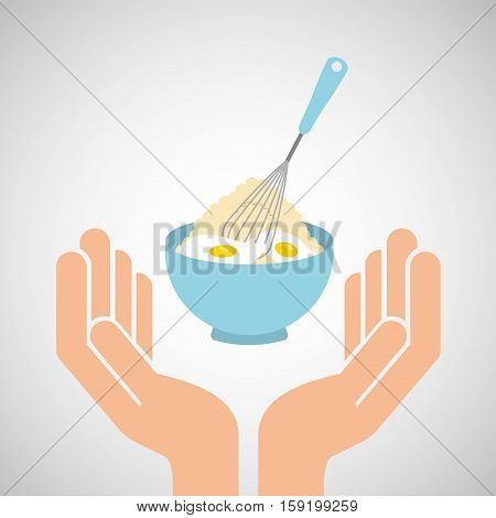 hands food preparing flour with eggs mix vector illustration eps 10