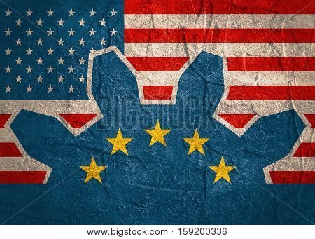 TTIP - Transatlantic Trade and Investment Partnership. Europe and USA association. Concrete textured