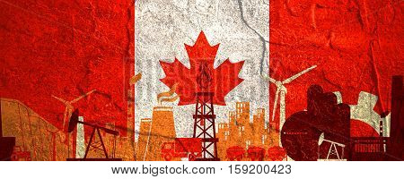Energy and Power icons set. Header banner with Canada flag. Sustainable energy generation and heavy industry. Concrete textured