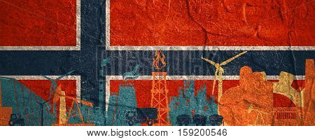 Energy and Power icons set. Header banner with Norway flag. Sustainable energy generation and heavy industry. Concrete textured