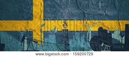 Energy and Power icons set. Header banner with Sweden flag. Sustainable energy generation and heavy industry. Concrete textured